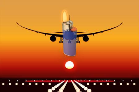 Feuerzeug im Flugzeug