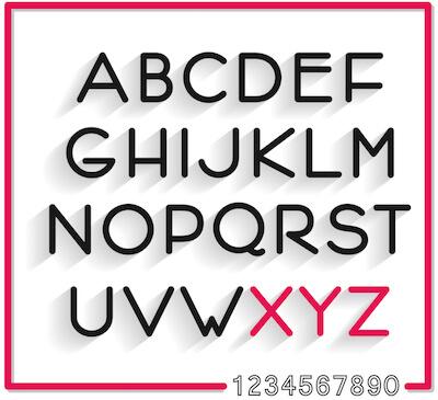 Serifenloses Alphabet zur illustration der Schriftart