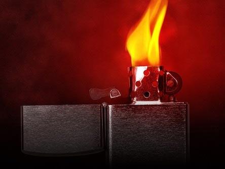 Zippo Benzin Sturmfeuerzeug mit rotem Hintergrund