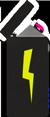Illustration eines Lichtbogen Feuerzeugs mit Blitzschlag